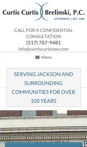 Responsive Mobile Attorney Website for Curtis, Curtis & Brelinski, P.C.