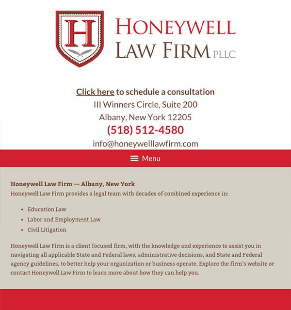Mobile Friendly Law Firm Webiste for Honeywell Law Firm PLLC