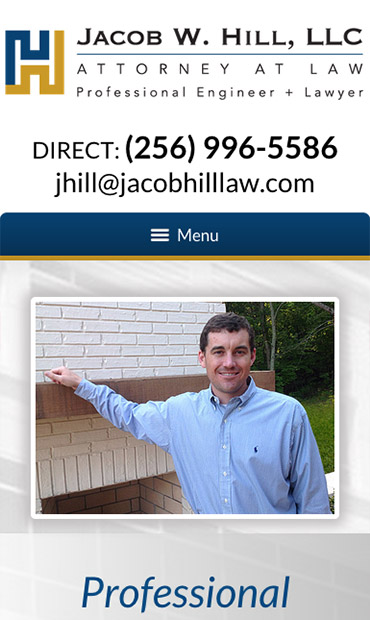 Responsive Mobile Attorney Website for Jacob W. Hill, LLC