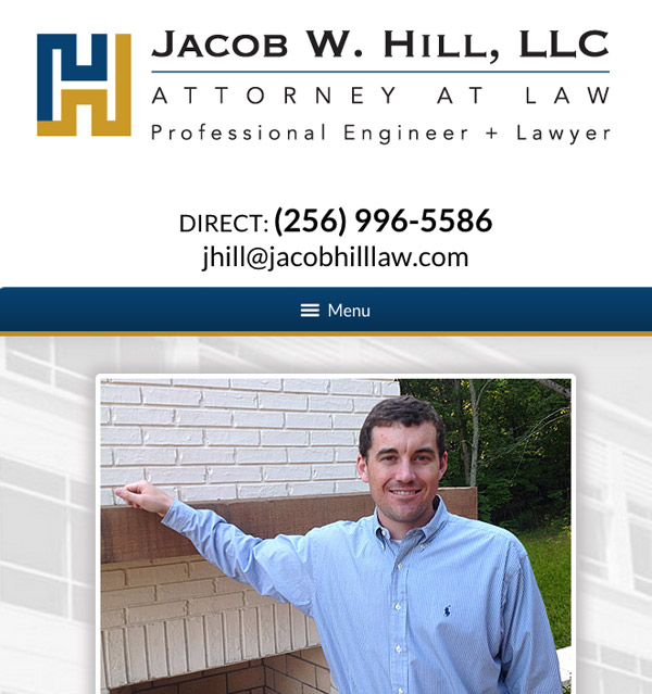 Mobile Friendly Law Firm Webiste for Jacob W. Hill, LLC