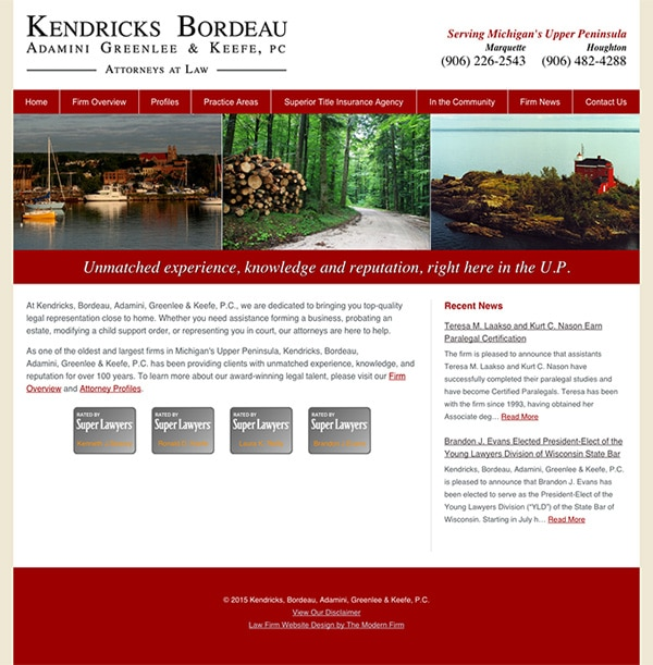 Law Firm Website Design for Kendricks, Bordeau, Adamini, Greenlee & Keefe, P.C.