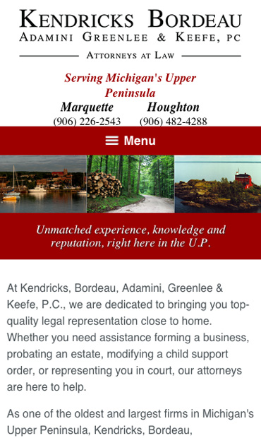Responsive Mobile Attorney Website for Kendricks, Bordeau, Adamini, Greenlee & Keefe, P.C.