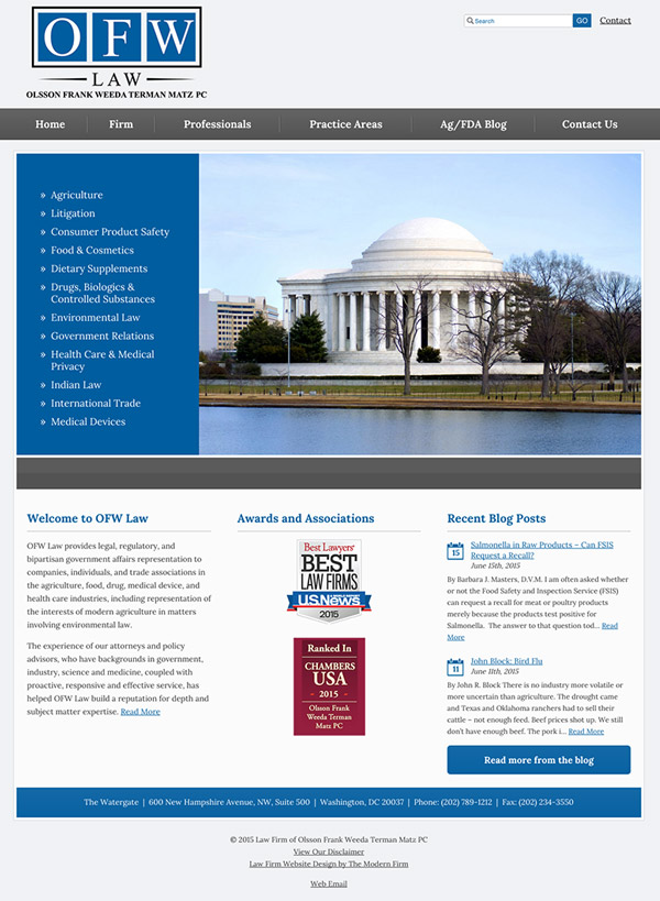 Law Firm Website Design for Olsson Frank Weeda Terman Matz PC