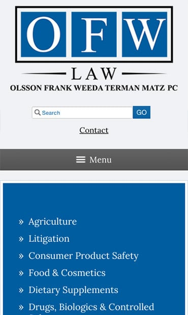 Responsive Mobile Attorney Website for Olsson Frank Weeda Terman Matz PC