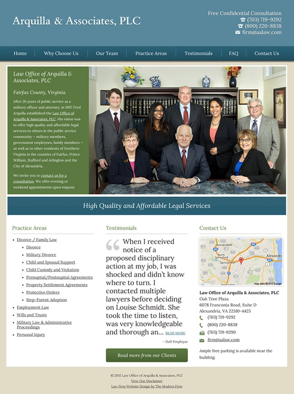Law Firm Website Design for Arquilla & Associates, PLC