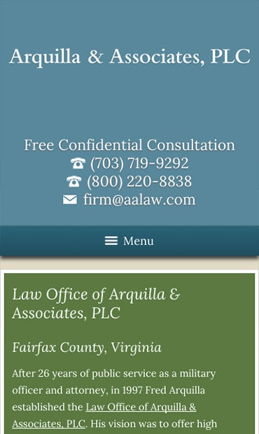 Responsive Mobile Attorney Website for Arquilla & Associates, PLC