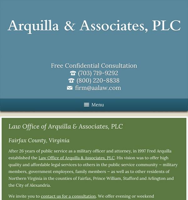 Mobile Friendly Law Firm Webiste for Arquilla & Associates, PLC