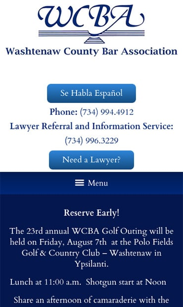 Responsive Mobile Attorney Website for Washtenaw County Bar Association