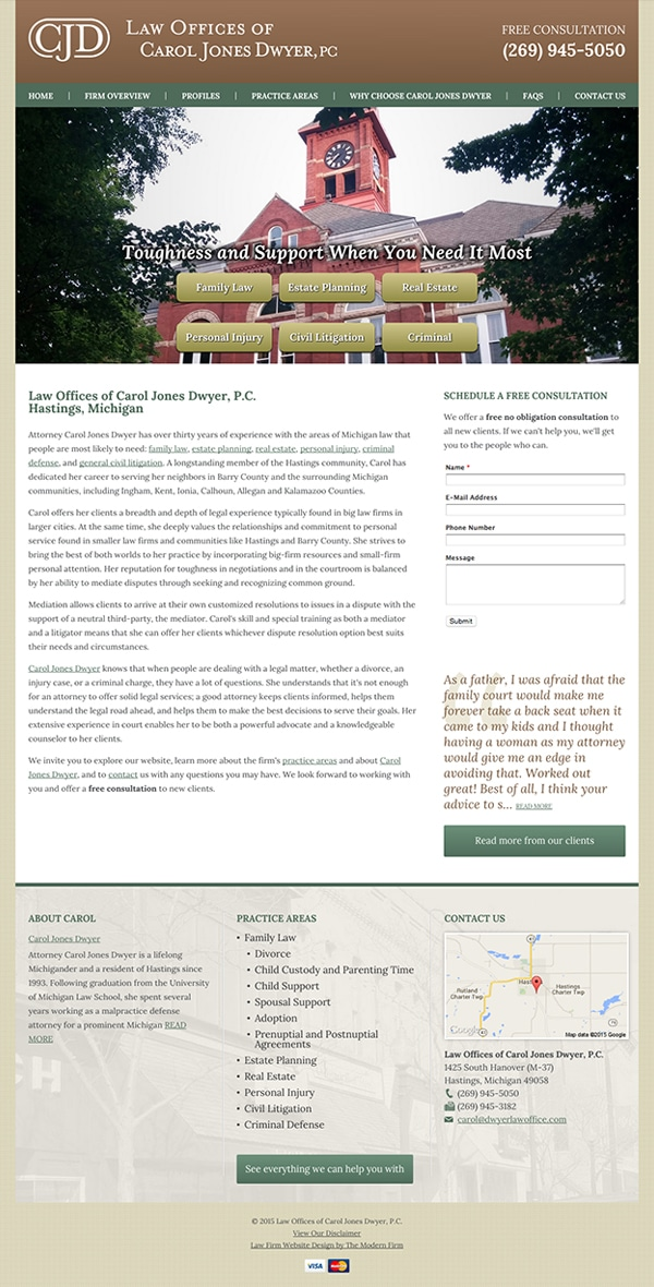 Law Firm Website Design for Law Offices of Carol Jones Dwyer, P.C.