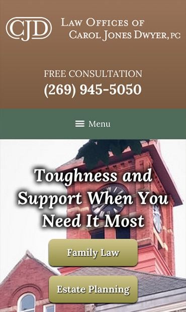 Responsive Mobile Attorney Website for Law Offices of Carol Jones Dwyer, P.C.