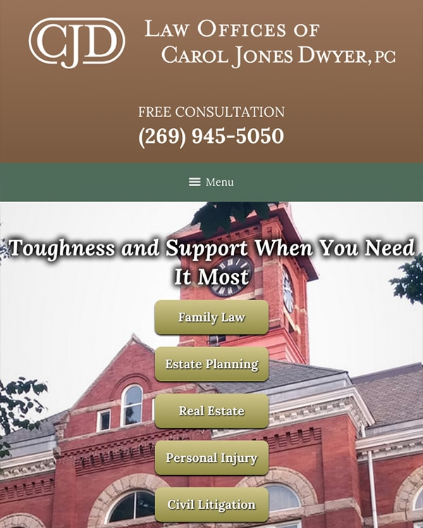 Mobile Friendly Law Firm Webiste for Law Offices of Carol Jones Dwyer, P.C.