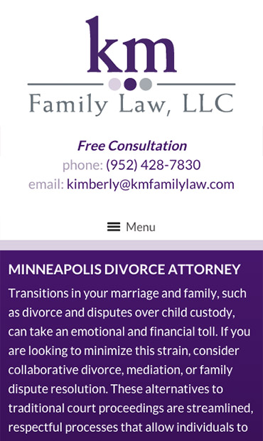 Responsive Mobile Attorney Website for KM Family Law, LLC