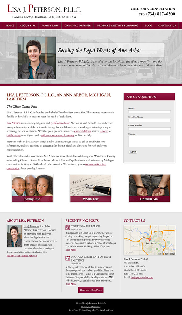 Law Firm Website for Lisa J. Peterson, P.L.L.C.
