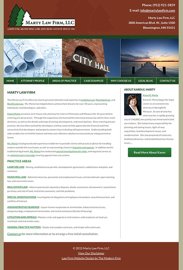 Law Firm Website for Marty Law Firm, LLC