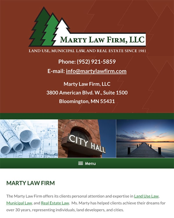 Mobile Friendly Law Firm Webiste for Marty Law Firm, LLC