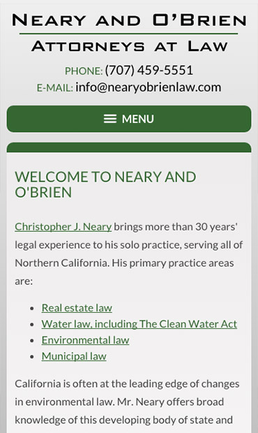 Responsive Mobile Attorney Website for Neary and O'Brien