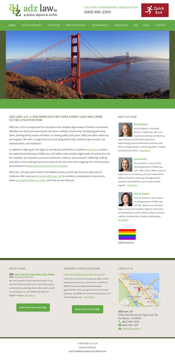Law Firm Website Design for ADZ Law, LLP