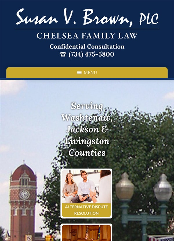 Mobile Friendly Law Firm Webiste for Susan V. Brown, PLC