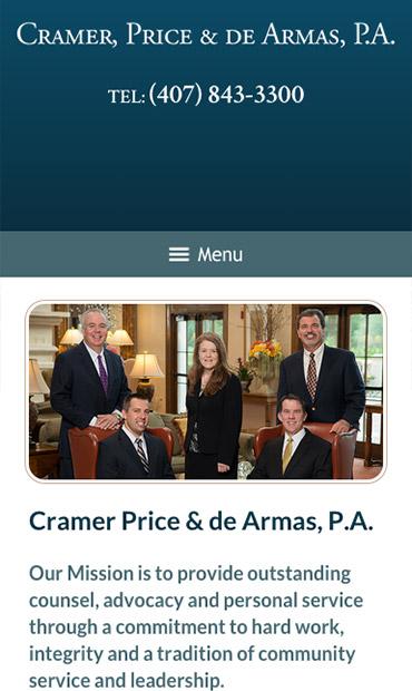 Responsive Mobile Attorney Website for Cramer, Price & De Armas, P.A.