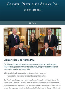 Orlando Florida Law Firm Website for iPad