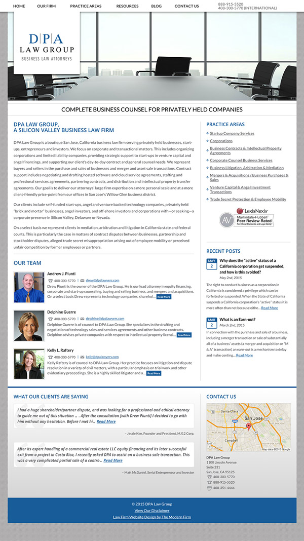 Law Firm Website Design for DPA Law Group