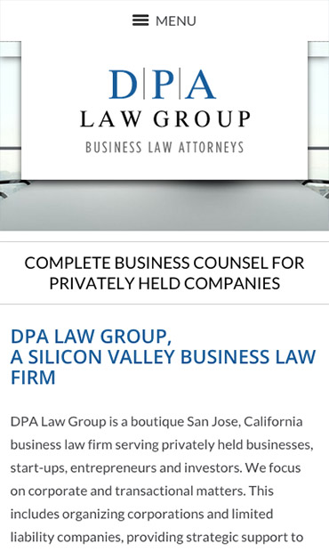 Responsive Mobile Attorney Website for DPA Law Group