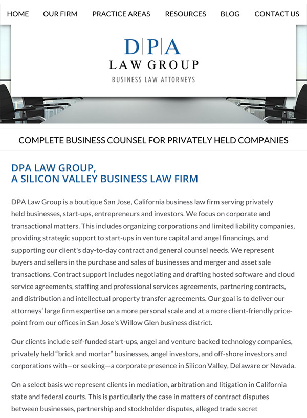 Mobile Friendly Law Firm Webiste for DPA Law Group