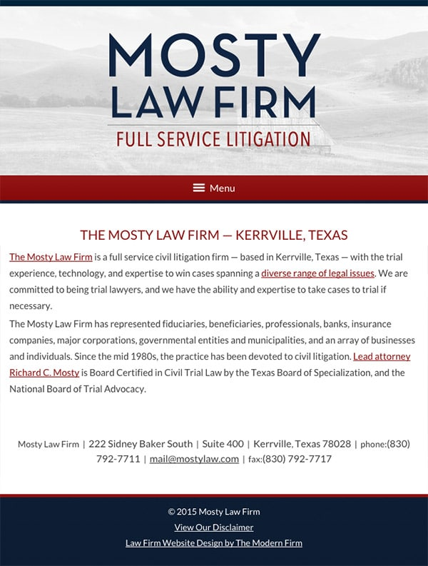 Mobile Friendly Law Firm Webiste for Mosty Law Firm