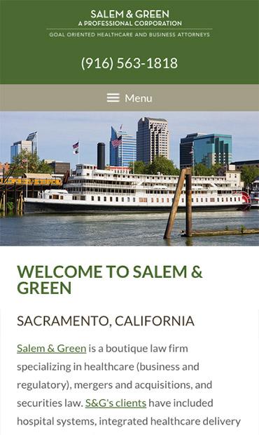 Responsive Mobile Attorney Website for Salem & Green