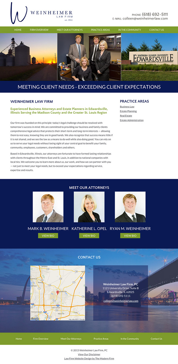 Law Firm Website Design for Weinheimer Law Firm, PC