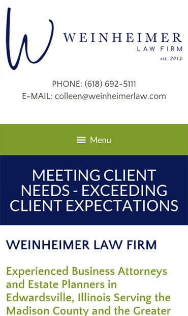 Responsive Mobile Attorney Website for Weinheimer Law Firm, PC