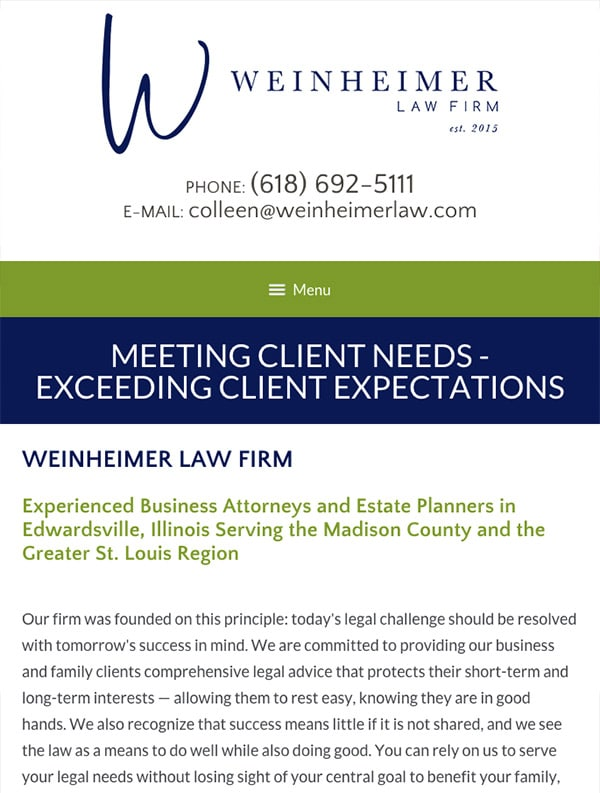 Mobile Friendly Law Firm Webiste for Weinheimer Law Firm, PC