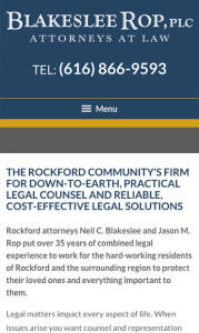 Rockford Michigan Law Firm Mobile Website