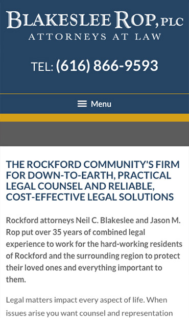 Responsive Mobile Attorney Website for Blakeslee Rop, PLC