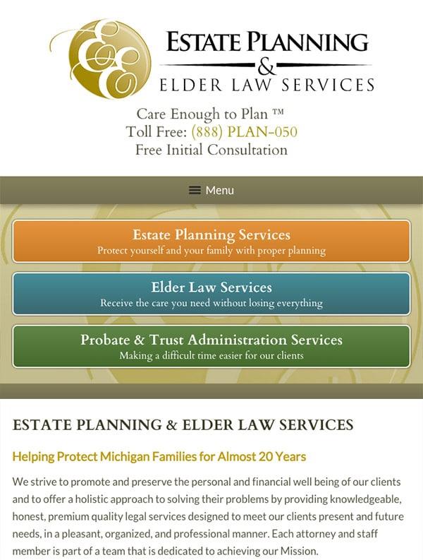 Mobile Friendly Law Firm Webiste for Estate Planning & Elder Law Services, P.C.