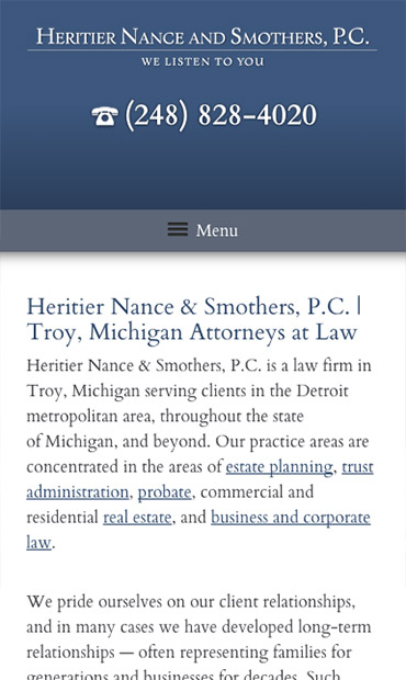 Responsive Mobile Attorney Website for Heritier Nance and Smothers, P.C.