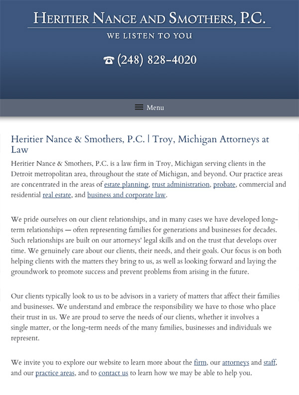 Mobile Friendly Law Firm Webiste for Heritier Nance and Smothers, P.C.
