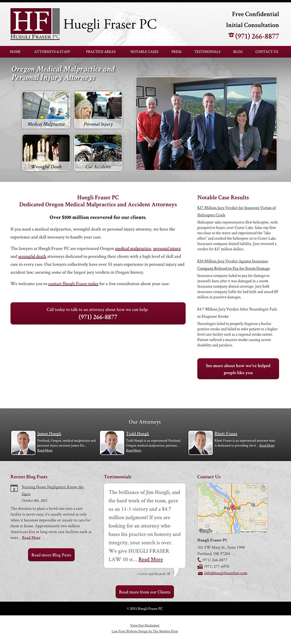 Law Firm Website for Huegli Fraser PC