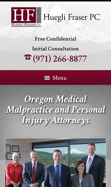Responsive Mobile Attorney Website for Huegli Fraser PC