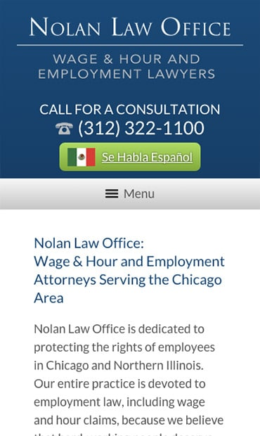 Responsive Mobile Attorney Website for Nolan Law Office
