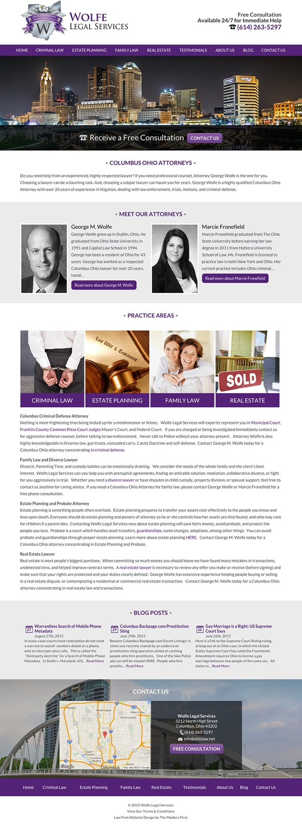 Law Firm Website for Wolfe Legal Services