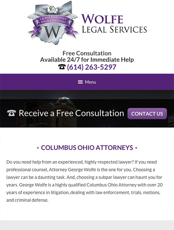 Mobile Friendly Law Firm Webiste for Wolfe Legal Services