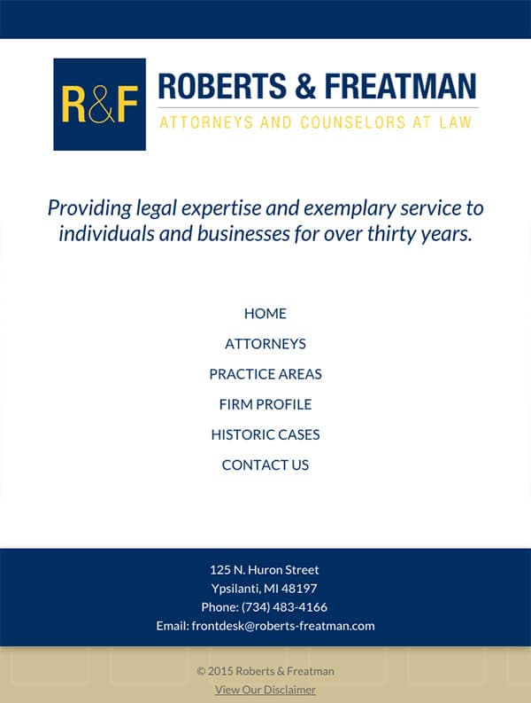 Mobile Friendly Law Firm Webiste for Roberts & Freatman