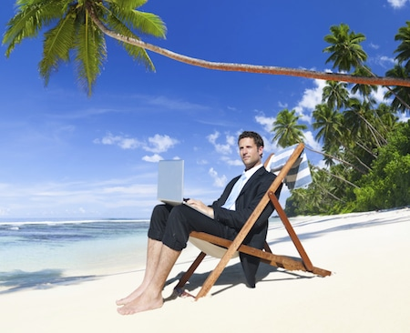 Lawyer Working on his Vacation