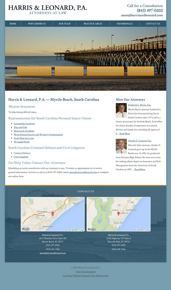 Law Firm Website Design for Harris & Leonard, P.A.