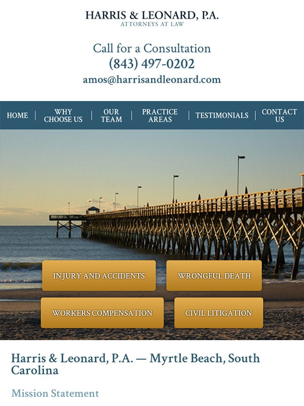 Mobile Friendly Law Firm Webiste for Harris & Leonard, P.A.