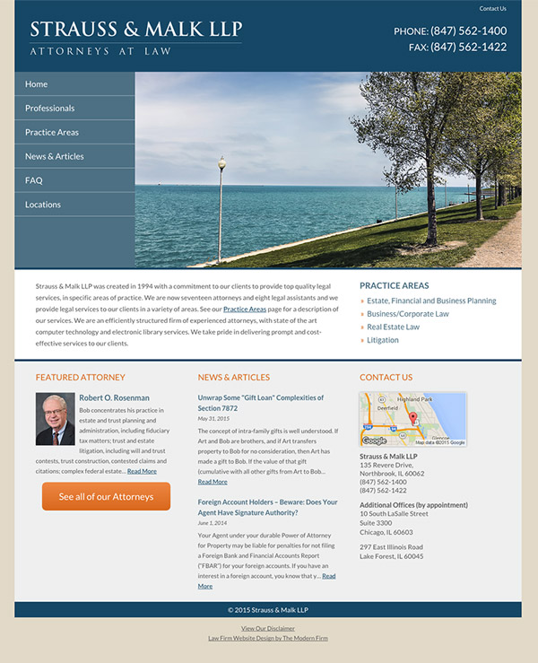 Law Firm Website for Strauss & Malk LLP
