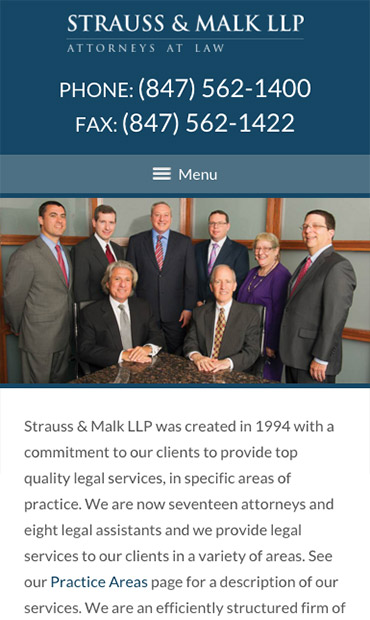 Responsive Mobile Attorney Website for Strauss & Malk LLP