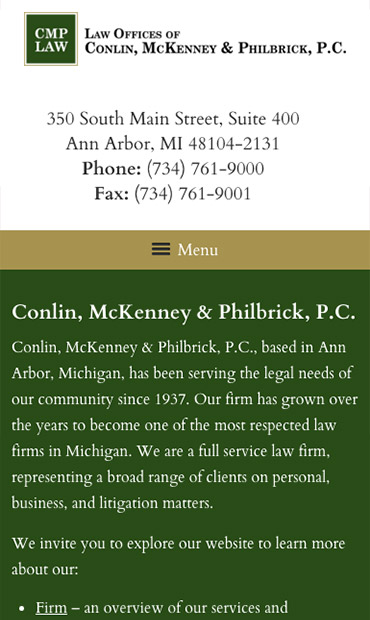 Responsive Mobile Attorney Website for Law Offices of Conlin, McKenney & Philbrick, P.C.