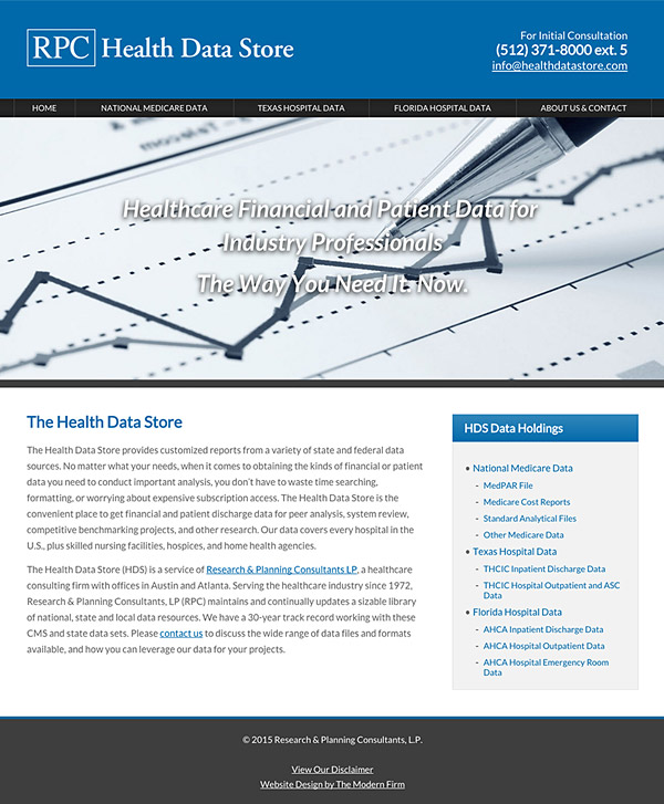 Law Firm Website Design for RPC Health Data Store